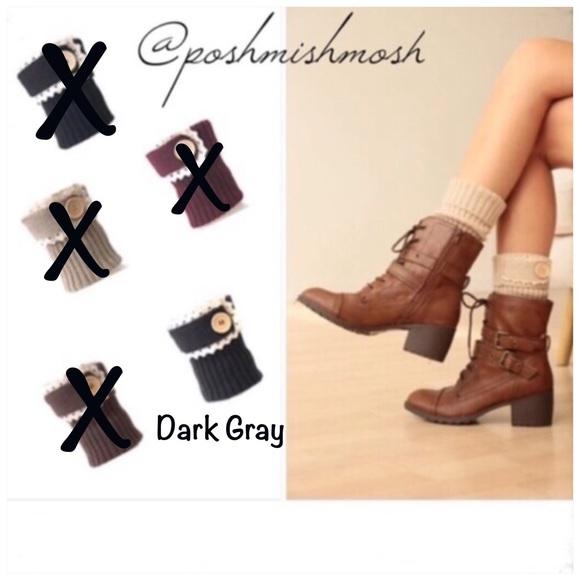 Accessories - Dark Gray Rib Knit Boot Cuffs w/ Lace & Buttons